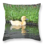 Fuzzy Little Yellow Duck Throw Pillow