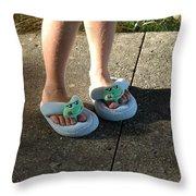 Fuzzy Slippers Throw Pillow