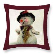 Fuzzy The Snowman Throw Pillow