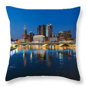 Fx2l472 Columbus Ohio Night Skyline Photo Throw Pillow