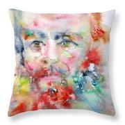 Fyodor Dostoyevsky - Watercolor Portrait.4 Throw Pillow