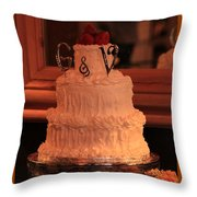 G And V Wedding Cake Throw Pillow