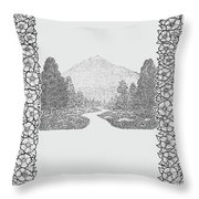 Mountain Walk Border Throw Pillow