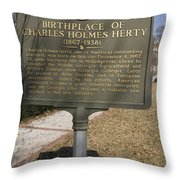 Ga-005-10 Birthplace Of Charles Holmes Herty 1867-1938 Throw Pillow