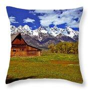 Gable Roof Barn Panorama Throw Pillow