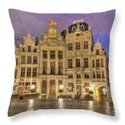 Gabled Buildings In Grand Place Throw Pillow