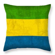 Gabon Flag Vintage Distressed Finish Throw Pillow