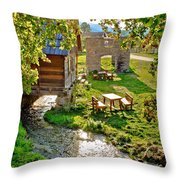 Gacka River Spring Watermill And Historic Ruins Throw Pillow