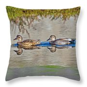 Gadwall Pair Swimming Together Throw Pillow