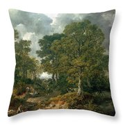 Gainsboroughs Forest Cornard Wood, C.1748 Oil On Canvas Throw Pillow