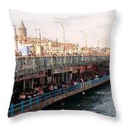 Galata Skyline And Bridge 02 Throw Pillow