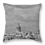 Galata Tower Mono Throw Pillow