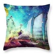 Galileo's Dream - Schooner Art By Sharon Cummings Throw Pillow