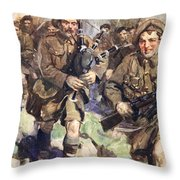 Gallant Piper Leading The Charge Throw Pillow by Cyrus Cuneo
