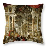 Gallery With Views Of Modern Rome Throw Pillow
