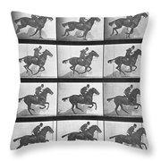 Galloping Horse Throw Pillow by Eadweard Muybridge