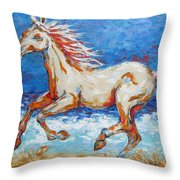 Galloping Horse On Beach Throw Pillow