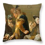 Gamblers In The Foyer Throw Pillow by Johann Heinrich Tischbein