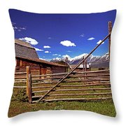 Gambrel Barn And Tetons Throw Pillow