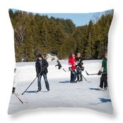 Game Of Ice Hockey On A Frozen Pond  Throw Pillow