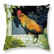 Gamecock And Hen Throw Pillow by Carol Walklin