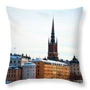 Gamla Stan Winter Throw Pillow