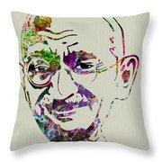 Gandhi Watercolor Throw Pillow