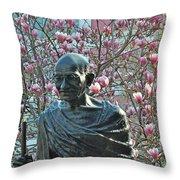 Union Square Gandhi With Magnolias Throw Pillow