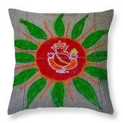 Ganesh Rangoli Throw Pillow