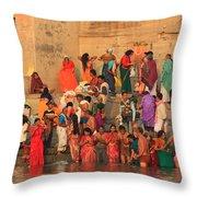Ganges Pilgrims Throw Pillow