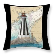 Gannet Rock Lighthouse New Brunswick Canada Nautical Chart Art Throw Pillow