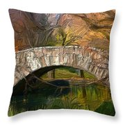 Gapstow Bridge In Central Park Throw Pillow