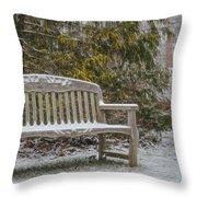 Garden Bench During Winter Snowfall At Sayen Gardens Throw Pillow