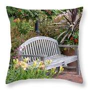 Garden Benches 3 Throw Pillow
