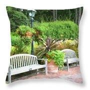 Garden Benches 7 Throw Pillow