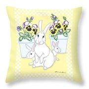 Garden Bunnies Throw Pillow