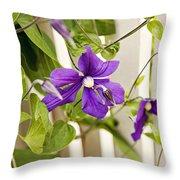 Garden Clematis Throw Pillow