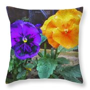 Garden Flowers Poppies Throw Pillow