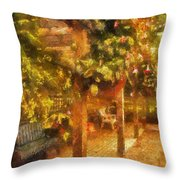 Garden Flowers With Bench Photo Art 01 Throw Pillow