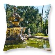 Garden Fountain - Iconic Fountain At The Huntington Library And Botanical Ga Throw Pillow