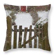 Garden Gate In Snow Throw Pillow