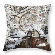 Garden Gate In Winter Throw Pillow