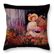 Garden Girl Throw Pillow