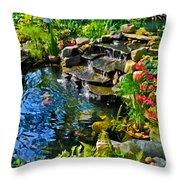 Garden Goldfish Pond Throw Pillow