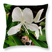 Garden Hound Throw Pillow