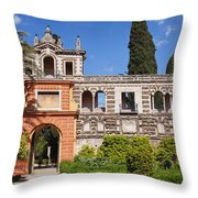 Garden In Alcazar Palace Of Seville Throw Pillow