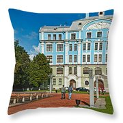 Garden In Front Of An Education Throw Pillow