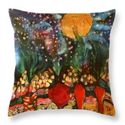 Garden In Moonlight Throw Pillow