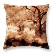 Garden Lily Pond Throw Pillow