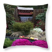 Garden Miniature Train Throw Pillow
